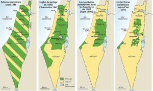 contrastes palestine - carte evolution palestine israel - les equipes populaire